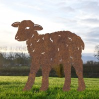 Rustic Young Curly Lamb Iron Silhouette