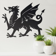 Black Welsh Dragon Wall Art - 60cm