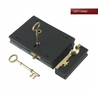 """Viceroy"" Black Iron and Brass Rim Lock - Left Hand Door"