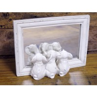 Vintage Cream Three Elephants Mirror