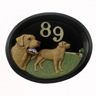 """Walker"" Labrador House Number Sign"