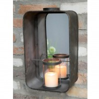 Wall Mounted Industrial Mirror & Candle Holder