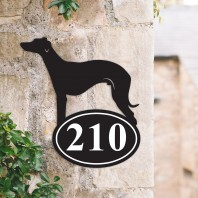 Whippet Iron House Number Sign