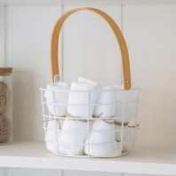 White Wire Utility Basket with Bamboo Handle