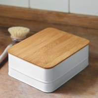 White Storage Box with Bamboo Lid