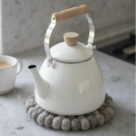 White Enamel Stove Kettle with Wooden Handle
