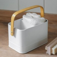 White Wash Up Tidy with Bamboo Handle