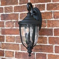 """Winsford"" Extra Large Top Fix Black Wall Lantern"