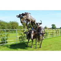 """Buckenall"" Sculpture of Leaping Whitetail Wildebeests"