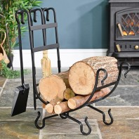 Wrought Iron Log Holder With Tools