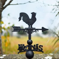 Standard Black Cast Iron Rooster Weathervane