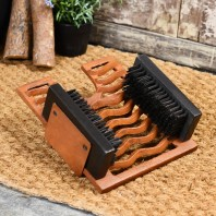 Rustic Three in One Boot Jack Boot Brush and Scraper