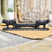 Black Ornate Cow with Bell Boot Scraper