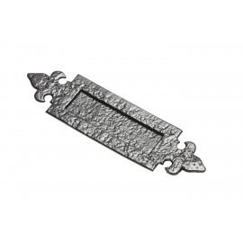 "12"" Antique Black Iron Fleur-De-Lys Inspired Door Letter Plate"