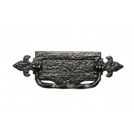 """14"""" Antique Black Iron Fleur De Lys Door Letter Plate With Integral Knocker"""