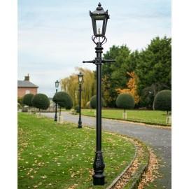 2.7m Black Victorian Garden Lamp Post Set