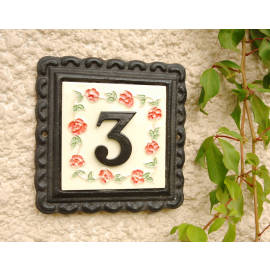 """""""Ring of Roses"""" Small Iron & Tile House Number Sign"""