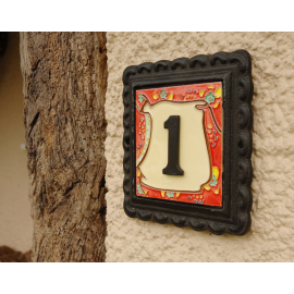 """""""Scarlett Blooms"""" Small Iron & Tile House Number Sign"""