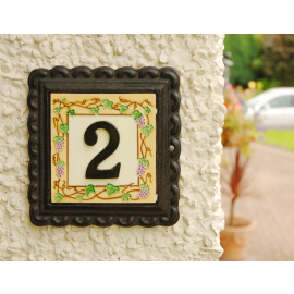 """""""Summer Grapes"""" Small Iron & Tile House Number"""