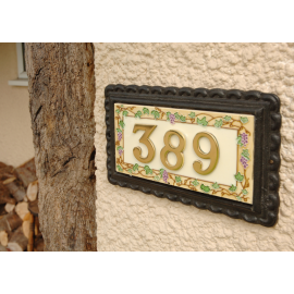 """""""Summer Grapes"""" Large Iron & Tile House Number Sign"""