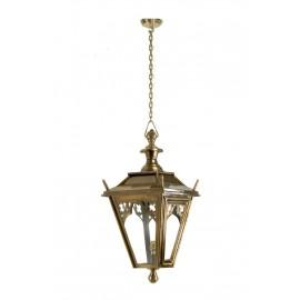 Antique brass Gothic hanging lantern on chain