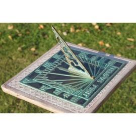 Verdigris 'Tempus Fugit' Square Sundial - 200mm