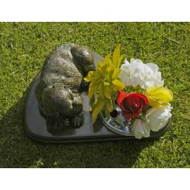 Pet Memorial & integral vase 'Dog at rest'