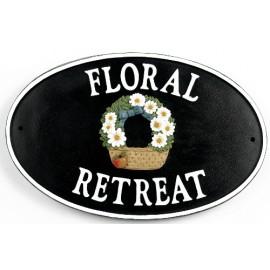 """Hollyrod House"" Flower basket Cast Iron Effect House Name Sign"