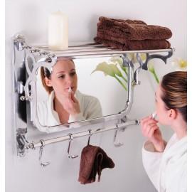 """Montague"" Bathroom Shelf, Mirror and Hook Rail."