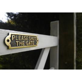 Please Shut The Gate Brass Sign