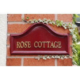 """House Name - Red Traditional Signs (16"""" wide)"""