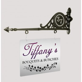 """""""Marton Hall"""" Hanging Shop Sign with Chrome Door Number"""