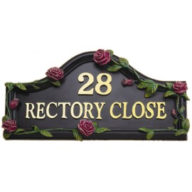 Pink Rose Hand Painted Double Sided House Name Sign