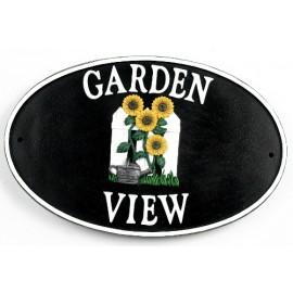 """Garden Sunflowers"" Cast Iron Effect House Name Sign"
