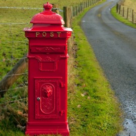 """""""African Sunset"""" Red Camden Deluxe Free Standing Post Box"""