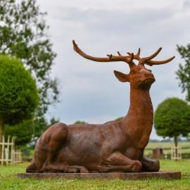 """Elkin"" Beautiful Stag Laying Down Created in Iron - Facing Forward in Situ in the Garden"