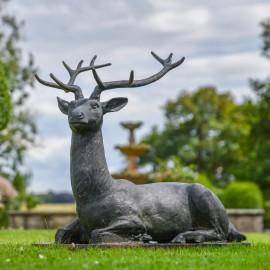"""""""Elkin"""" Black Cast Iron Stag Sculpture in Situ"""