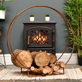 """""""Harewood Park"""" Contemporary Wrought Iron Log Holder in a Rustic Finish"""