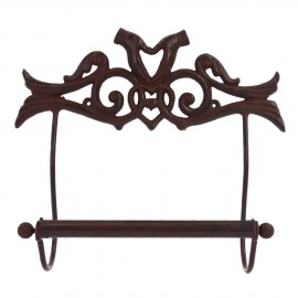 """""""Helping Hands"""" Metal Wall-Mounted Kitchen Roll Holder (Rustic Brown)"""