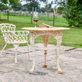 'Merriweather' Round Cast Aged Rustic Cream Iron Victorian Table in Situ