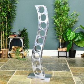 """""""Serena"""" Aluminium Curved Wine and Bottle Holder in Situ in the Home"""