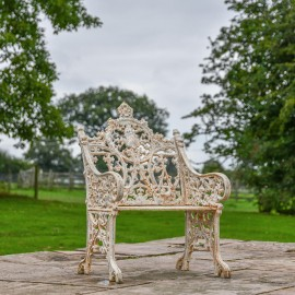 Cast Iron Gothic One Seat Bench in a Cream Finish