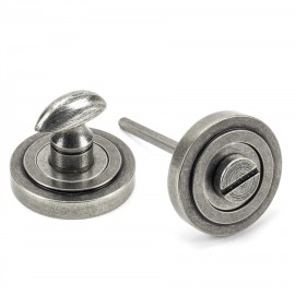 Aged Pewter Concealed Thumbturn Set with Art Deco Cover