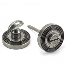 Aged Pewter Concealed Thumbturn Set with Layered Beehive Cover