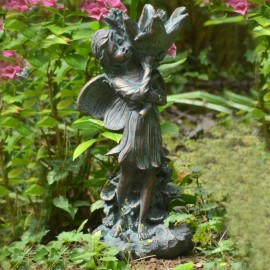 Flower Fairy Sculpture Finished in an Aged Verdigris Bronze Finish
