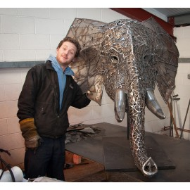 """""""Emanti"""" Hand Sculpted Elephant Head with Stainless Steel Tusks"""