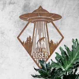 """""""Get in Loser"""" Alien Wall Art on a Rustic Wall"""