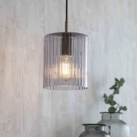 Antique Brass Ridged Glass Hanging Light in Situ in the Home