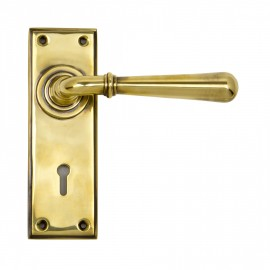 """""""Emerson"""" Antique Brass Sprung Lever Handles with Keyhole"""