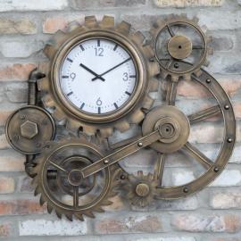 Antique Bronze Cog Clock on a Brick Wall